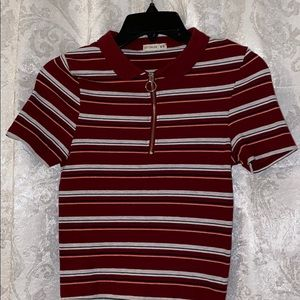 Cotton On stripped red collar shirt with zipper
